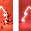 <h3>Néon sur le cyclo, boules décoratives suspendues sur une profondeur de 3 mètres (effet d'optique de boules plus grosses que d'autres)</h3>
