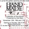 <h3>Flyer verso pour le vernissage de l'exposition «Hand Made» à la Galerie Kennory Kim (75002)</h3>